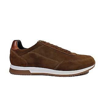 Loake Bannister Tan Suede Leather Mens Lace Up Trainers