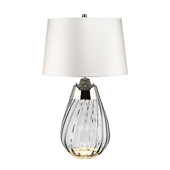 2 Vaalea pieni savupöytälamppu, jossa on off-white sävy, savusävyinen lasi , Off-White Shade, E27
