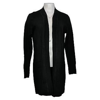 Isaac Mizrahi Live! Women's Sweater Cardigan Pockets Black A391476