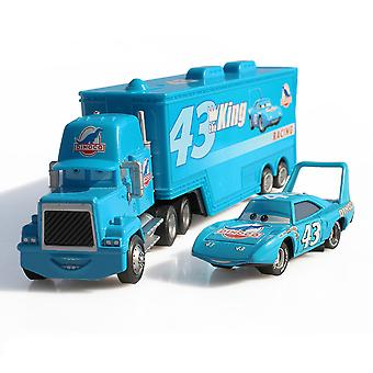 Cars Cargo Trailer Závodní vůz King 43 Diecast Slitina Auta Model Toy Children's Gift