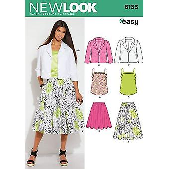 New Look Sewing Pattern 6133 Misses Jacket Top Skirts Size 8-18 Euro 34-44