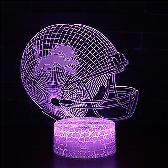 3D Optisk illusionslampa LED Night Light, 7 färger Touch Bedside Lamp Bedroom Table Art Deco Child Night Light med USB Cable Novelty Christmas Birthday Gift-American fotbollshjälm # 372