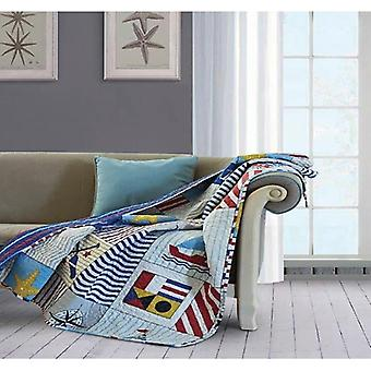 Spura Home Anchors Away Patchwork Quilted Contemporary Throw