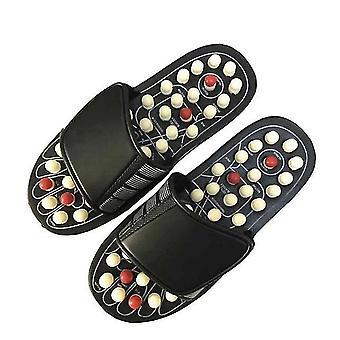 Noir blanc rotatif commérages sole chaussures de massage santé magnétiques thérapie massage pantoufles dot pantoufles de massage