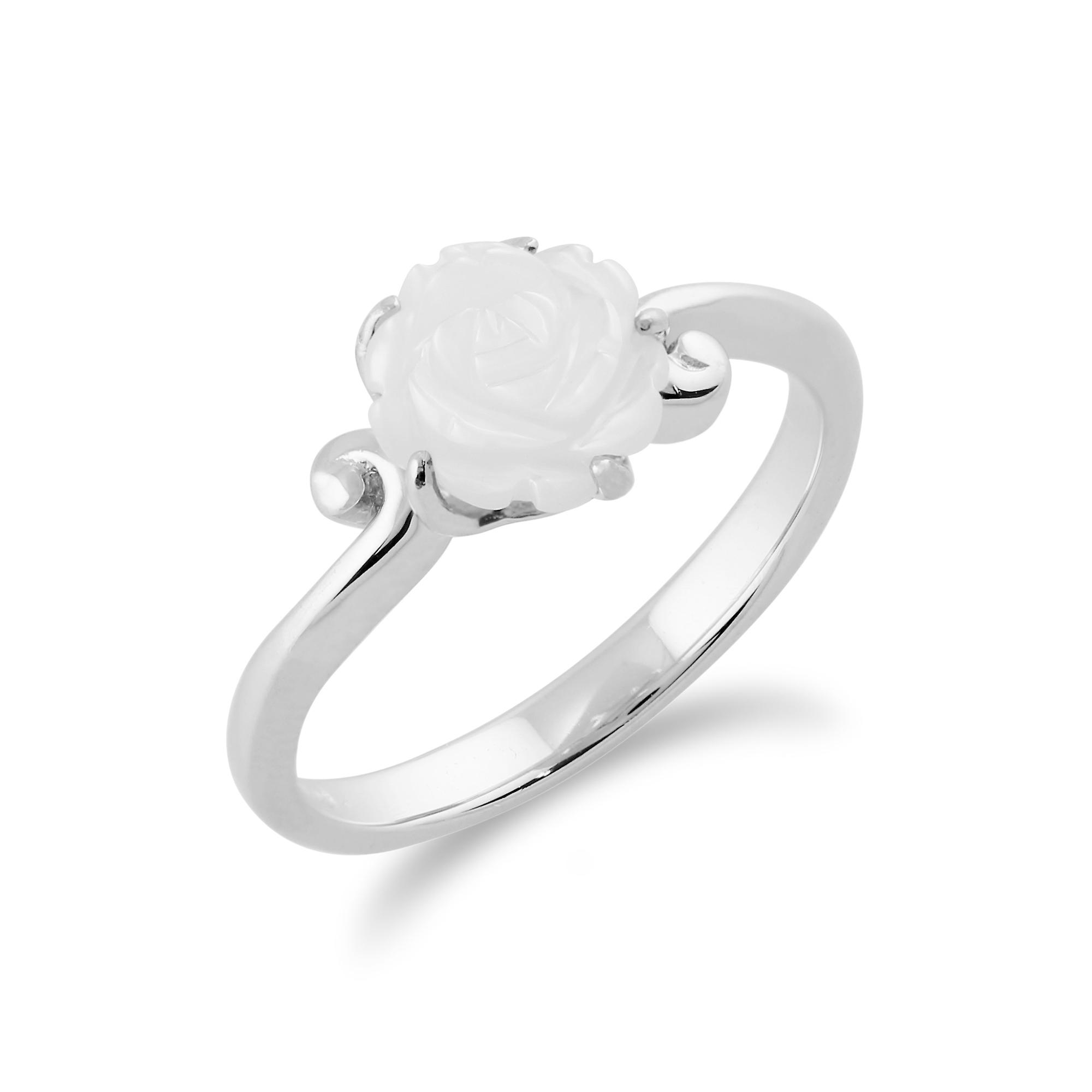 Gemondo 925 Sterling Silver 1ct Mother of Pearl Floral Rose Ring