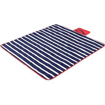 Yello Fleece Outdoor Picnic Rug - Blue Stripe