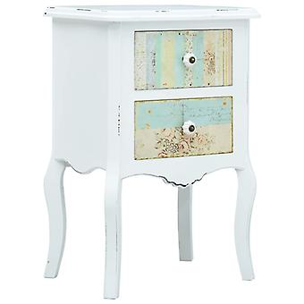 vidaXL Bedside Table White and Brown 43 x 32 x 65 cm MDF