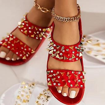 Rivet Fashion Women Summer Flat With Black Ladies Shoes