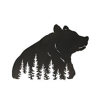 Black Bear Hanging Laser Cut Metal Wall Art Room Decor Forest Lodge Decoration