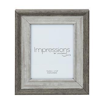 """6 """"x 8"""" - Impressionen Grau waschen Holz Effekt Fotorahmen"""
