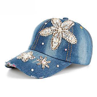 יהלום תחרה פרח כותנה ג'ינס בייסבול כובע