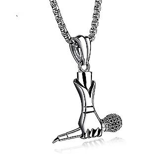 Pendant Men Women Rock Singer Agarred Microfone Titanium Steel Women Colar For Party