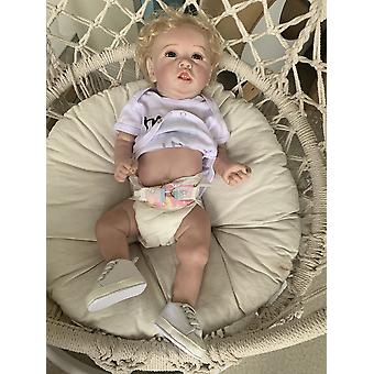 56Cm original full body silicone reborn baby doll with teeth two skin colors lifelike hand made detailed painting doll