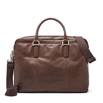 "Fossil Walton Brown Leather Document Bag 15"" Laptop Detachable Strap"