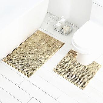 Badmattor chenille golvmatta ultra mjuk tvättbar badrum torrt snabbt vatten absorberande toalettmatta - 50cm x 80cm & 50cm x 50cm (u form), beige