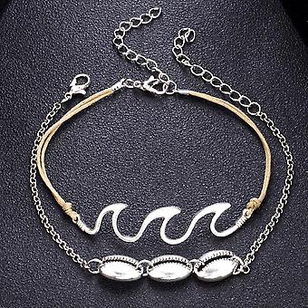 2pc Bohemia Wave Anklets Alloy Bracelets For Women Rope Beach Anklet Jewelry