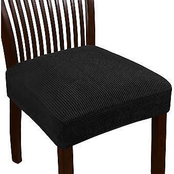 Venytä jacquard tuoli istuin suojukset ruokasalin tuoli istuin slipcovers irrotettava pestävä tuoli istuin tyynyn liukumäkeä, musta