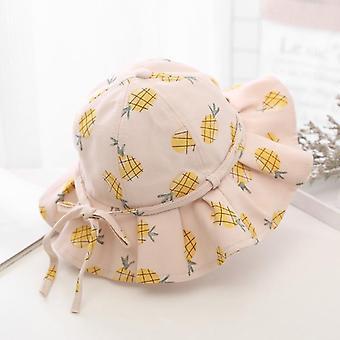 Kesä lapset tytöt suuri brimmed hedelmä painatus aurinko hattu vauva prinsessa ämpäri korkki lasten asusteet