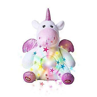 Unicorn Star Projector Nachtlampje voor kinderen - Unicorn Stuffed Animal Pluche Speelgoed - Musical Fopspeen Pluche - Slaapliedjes Geluiden Slaaphulp Pluche