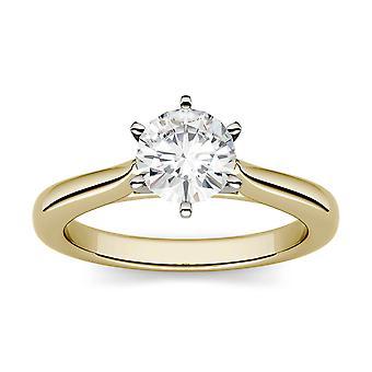 14K amarillo oro Moissanite por Charles & Colvard 5mm redondo anillo de compromiso solitario, rocío de 0,50 ct
