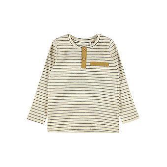 Navn-det Gutter Stripet Tshirt Valentin Whitecap Grå