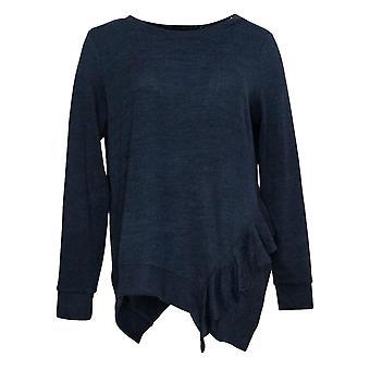 DG2 by Diane Gilman Women's Top Ruffle-Side Knit Blue 686761
