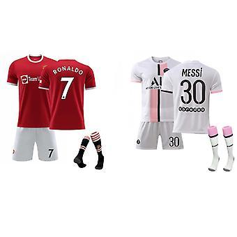 Cristiano Ronaldo Manchester United & Messi Psg Jersey (Ensemble de vêtements pour enfants