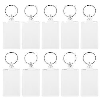 30pcs אקריליק מחזיק מפתחות תמונה מסגרת מפתח טבעת יצירתית מלבן מחזיק מפתחות אופנתי