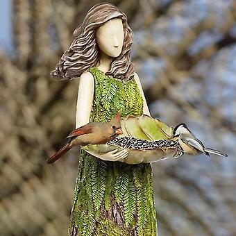 Outdoor Bird Waterer - Sherwood Fairy Statue mit Vogelfutter - Harz Ornament - Super Cute Garden Statue für GartenDekor