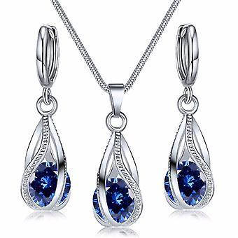 Fashion Silver Color Necklace Earrings Cubic Zirconia Jewelry Sets Elegant Crystal Zircon Jewelry Women Wedding Jewelry Set