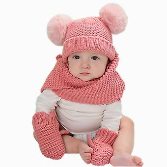 Girls And Boys 3 Piece Hat Scarf And Glove Matching Set