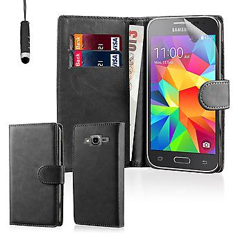 Book leather case + stylus for Samsung Galaxy Core Prime SM-G360 - Black