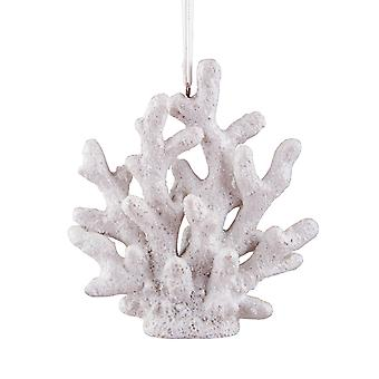Shimmery White Coral Christmas Holiday Ornament 3.75 Inches