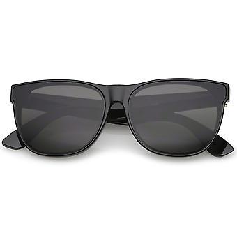 Retro Oversize Wide Temple Square vlakke Lens hoorn omrande zonnebril 60mm