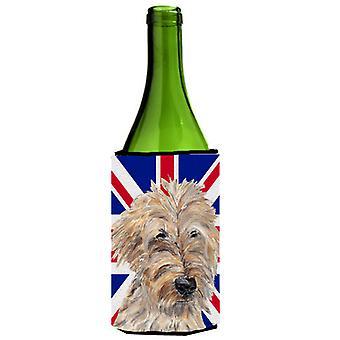 Golden Doodle mit englischen Union Jack britische Flagge Weinflasche Getränk Insulato