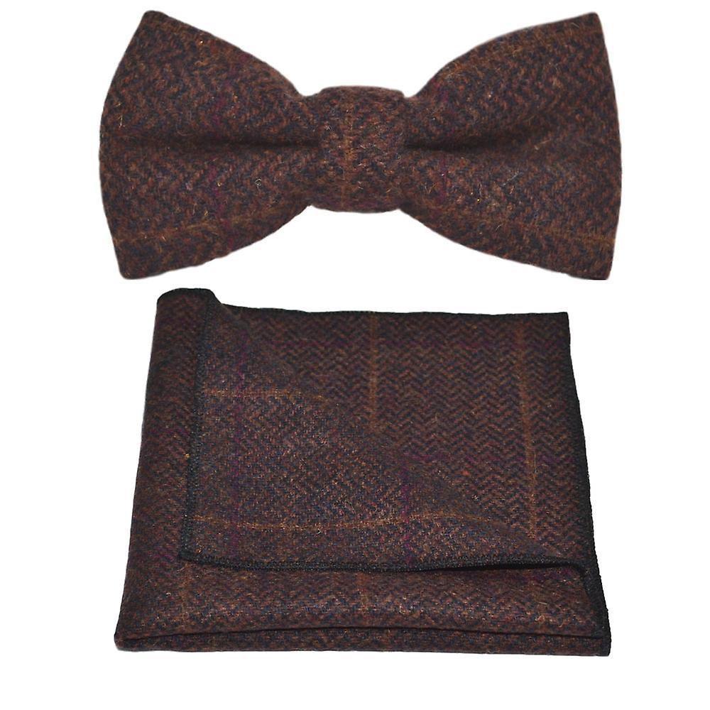 Luxury Mahogany Herringbone Check Bow Tie & Pocket Square Set, Tweed