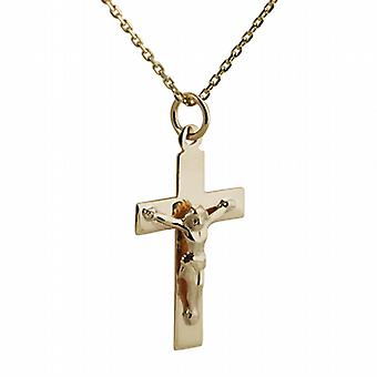 9ct Gold 24x14mm flat latin Crucifix Cross with a cable Chain 20 inches