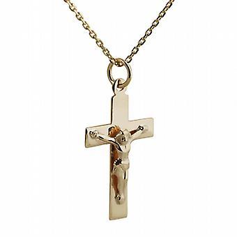 9ct Gold 24x14mm lateinischen Kreuz Kruzifix mit einem Kabel Kette flach 20 Zoll