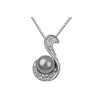 Black Pearl and White Crystal pendant 2290