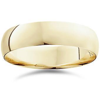 6mm Dome høj poleret vielsesring 10K gul guld Comfort Fit almindelig Ring
