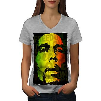 Marley Bob Peace Rasta Women GreyV-Neck T-shirt | Wellcoda