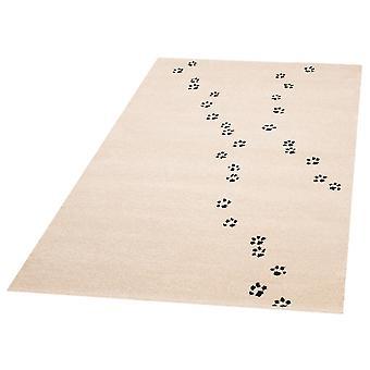 Crianças brincam de esteira pata impressões Ted 120 x 170 cm. Berçário do tapete