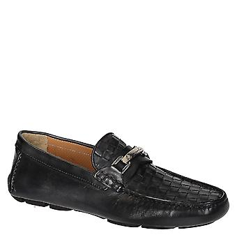 Men's dark grey woven leather driving moccasins shoes