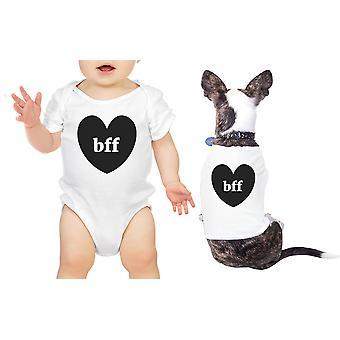 قلوب صديقات بيبي الحيوانات الأليفة مطابقة القمصان البيضاء ملامستهما هدية لطفل رضيع