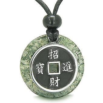 Amulet Lucky Coin Charm Medallion Moss Agate ProtectiAntiqued Pendant Necklace