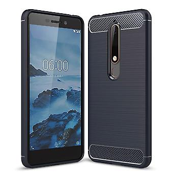 Nokia 6 (2018) TPU tilfelle karbon fiberoptikk børstet beskyttende operasjon Blau