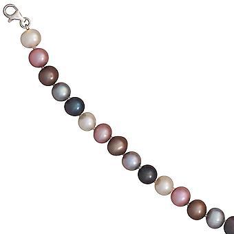Bracciale in argento 925 perla d'acqua dolce Bracciale 19,5 cm moschettone del branello