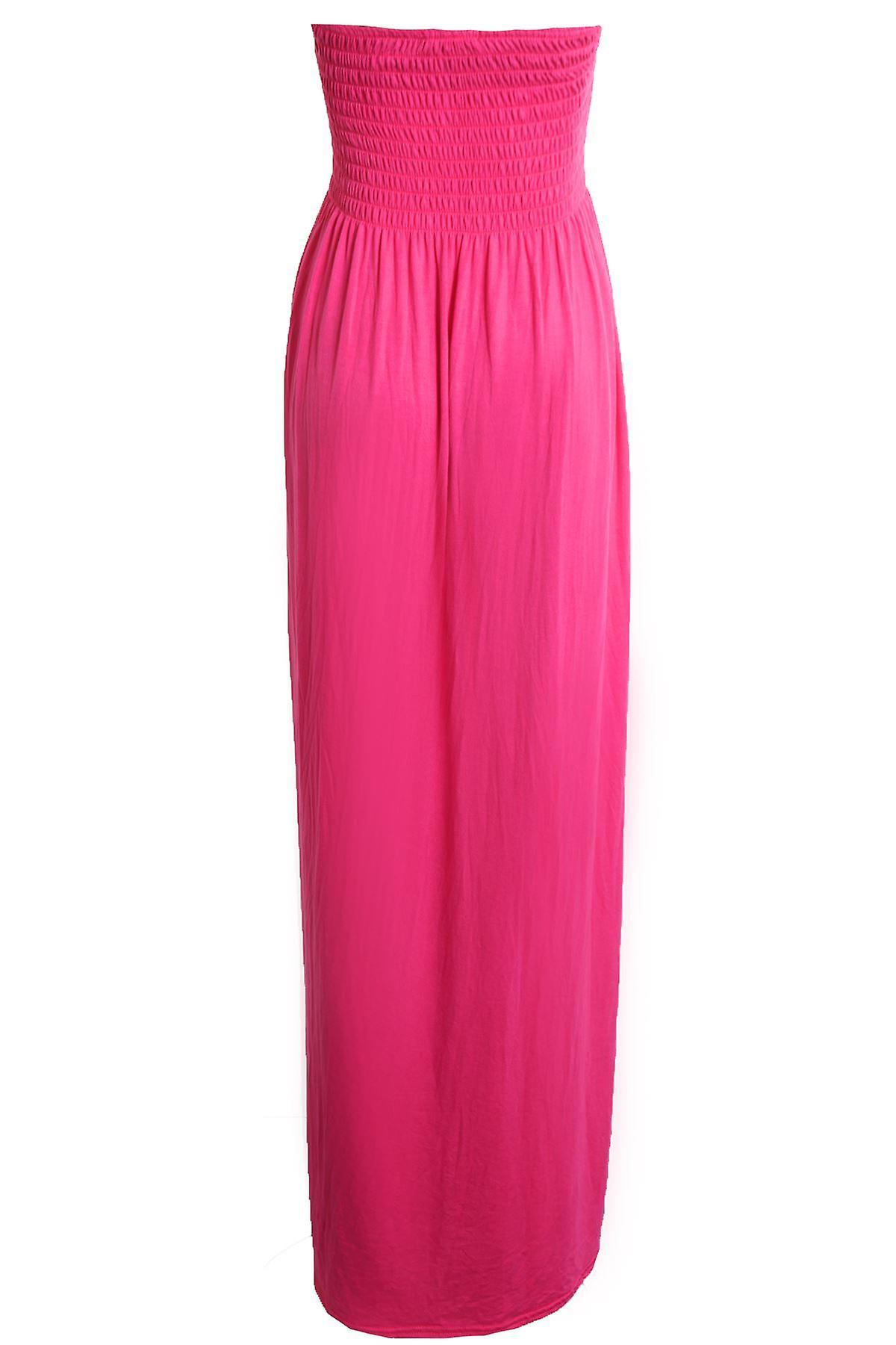 Ladies Summer Sheering Gathered Boobtube Bandea Strapless Long Maxi Women's Dress