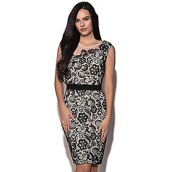 Papieren poppen Lace Overlay verfraaid jurk
