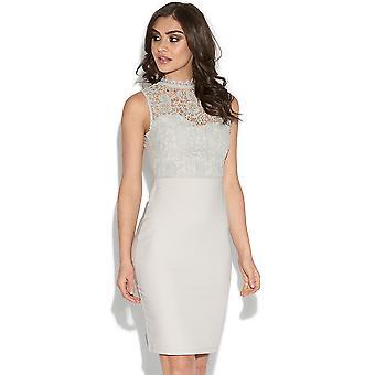 Grey Lace Top Bodycon Dress